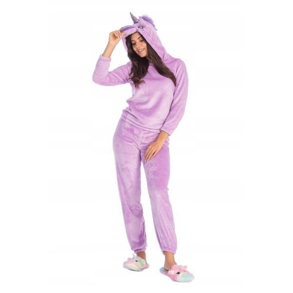 Piżama dwuczęściowa damska fioletowy Jednorożec